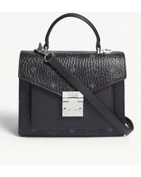 MCM - Black Patricia Classic Visetos Coated Canvas Satchel - Lyst