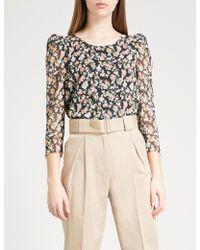 Claudie Pierlot - Banc Floral-pattern Crepe Top - Lyst
