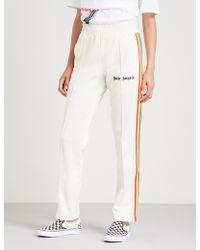 Palm Angels - Side-stripe Straight High-rise Jersey Jogging Bottoms - Lyst