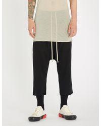 Rick Owens - Drawstring Relaxed-fit Cropped Wool Trousers - Lyst