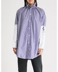 Balenciaga - Striped Cotton-poplin Shirt - Lyst