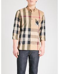 Burberry - Thornaby Checked Slim-fit Cotton-blend Shirt - Lyst