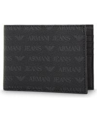 Armani Jeans - Monogram Textured Leather Billfold Wallet - Lyst