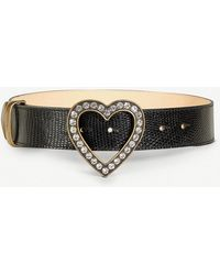 Alessandra Rich - Heart Crystal-embellished Lizard-leather Belt - Lyst