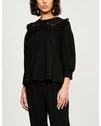 Simone Rocha - Ruffled Lace-trimmed Jersey Sweatshirt - Lyst