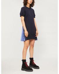 Sacai - Pleated-sides Cotton-blend Dress - Lyst