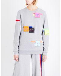 Fyodor Golan - Ladies Grey Round Post-it Cotton-jersey Top - Lyst