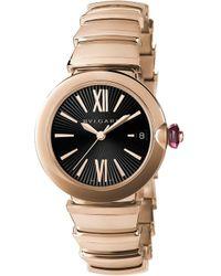 BVLGARI - Lvcea 18ct Pink-gold And Diamond Watch - Lyst