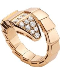 BVLGARI - Serpenti 18kt Pink-gold And Diamond Ring - Lyst