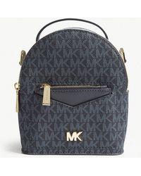MICHAEL Michael Kors - Michael Kors Blue Jessa Leather Cross Body Backpack - Lyst