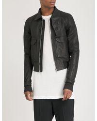 Rick Owens - Asymmetric-collar Leather Jacket - Lyst