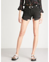 The Kooples - Distressed High-rise Denim Shorts - Lyst