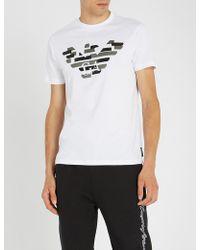 Emporio Armani - Leather Eagle T Shirt - Lyst