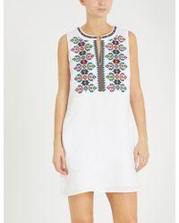 Tory Burch - Embroidered Linen Dress - Lyst
