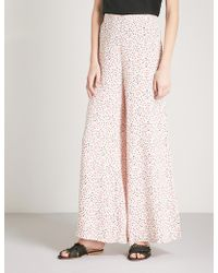 Free People - Easy Peasy Cherry-print Crepe Trousers - Lyst