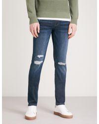 PAIGE - Croft Distressed Slim-fit Skinny Jeans - Lyst