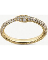 Gucci - Ouroboros 18ct Yellow-gold And Diamond Ring - Lyst
