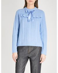 Needle & Thread Bow-detail Cable-knit Wool Sweater
