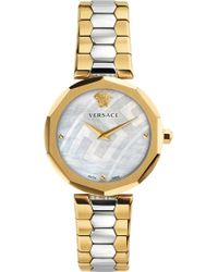 Versace - V-muse Gold And Stainless Steel Watch - Lyst