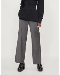 A.F.Vandevorst - Checked Wide-leg High-rise Wool Trousers - Lyst