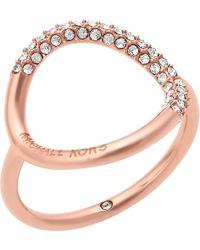 Michael Kors - Brilliance Rose Gold-toned Pavé Ring - Lyst
