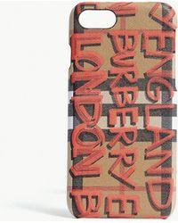Burberry - Vintage Graffiti Check Leather Iphone 7 Case - Lyst