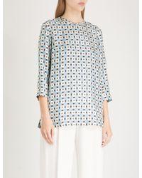 Max Mara - Bikini Geometric-print Silk-twill Shirt - Lyst