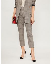 The Kooples - Prince-of-wales Straight Woven Trousers - Lyst