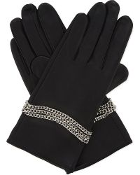 The Kooples - Chain Detail Leather Gloves - Lyst
