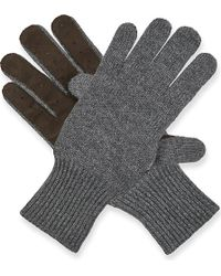 Brunello Cucinelli | Knitted Cashmere And Suede Gloves | Lyst