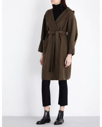 Mo&co. - Hooded Wool-blend Wrap Coat - Lyst