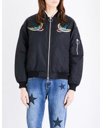 Mo&co. - Swallow-embroidered Shell Bomber Jacket - Lyst