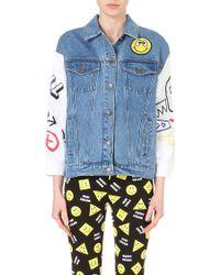 Mini Cream - Contrast-sleeve Denim Jacket - Lyst