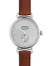 Shinola - Brown Strap Silver Canfield - Lyst