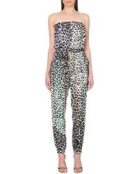 Just Cavalli | Leopard-print Silk-satin Jumpsuit | Lyst
