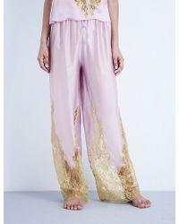 Rosamosario - Come Ti Amo Silk-satin And Lace Trousers - Lyst