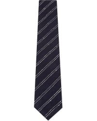 Thom Sweeney - Double Stripe Silk-cotton Textured Tie - Lyst
