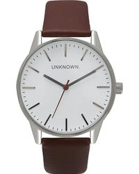 Unknown - Un14tc01 The Classic Stainless Steel And Leather Watch - Lyst