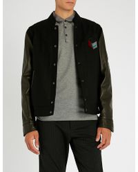 Lanvin - Embroidered Wool-blend And Leather Varsity Jacket - Lyst