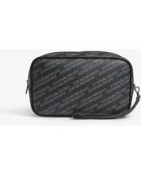 Emporio Armani - Logo Print Leather Wash Bag - Lyst