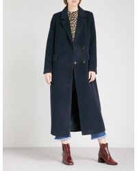 Ganni - Abbey Double-breasted Wool-blend Coat - Lyst