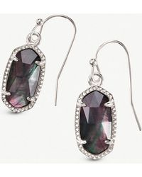 Kendra Scott - Lee Rhodium-plated And Black Mother-of-pearl Earrings - Lyst