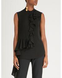 Alexander McQueen - Ruffled-trim Silk-crepe Shirt - Lyst
