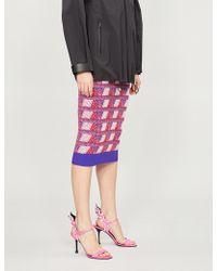 Prada - Geometric-jacquard Wool And Cashmere-blend Skirt - Lyst