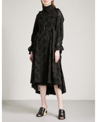 Sacai - Heart Embroidered Cotton-lace Trench Coat - Lyst