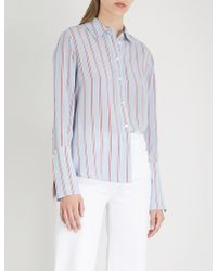 FRAME - Striped-pattern Silk Shirt - Lyst