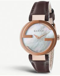 662f8669a6d37 Gucci - Interlocking-g Collection Rose Gold-toned And Leather Watch - Lyst