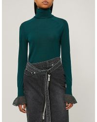 Sacai - Flared-cuff Wool Turtleneck Jumper - Lyst