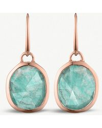 Monica Vinader - Siren 18 Rose-gold Vermeil And Amazonite Wire Earrings - Lyst