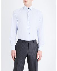 Eton of Sweden - Grid-patterned Contemporary-fit Cotton-poplin Shirt - Lyst